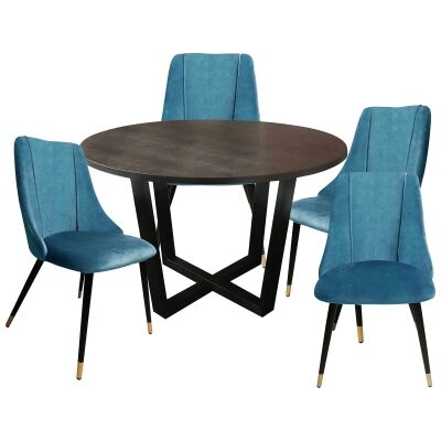 Daniella 5 Piece Round Dining Table Set, 120cm, with Sofia Chair