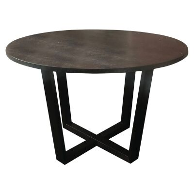 Dante Timber Round Dining Table, 120cm, Dark Walnut