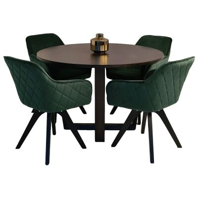Daniella 5 Piece Round Dining Table Set, 120cm, with Green Fabro Chair