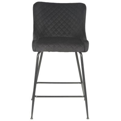 Valencia Velvet Fabric Counter Stool, Black