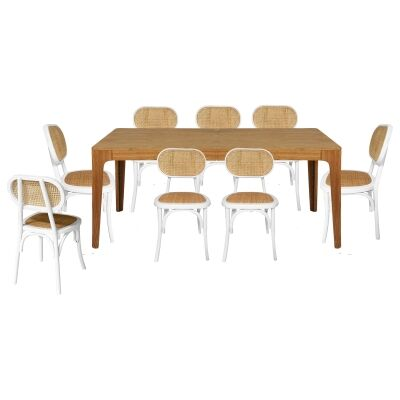 Dario 9 Piece Wooden Extendable Dining Table Set, 180-240cm, with Lima Chair