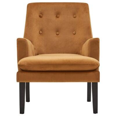 Masha Velvet Fabric Armchair, Toffee