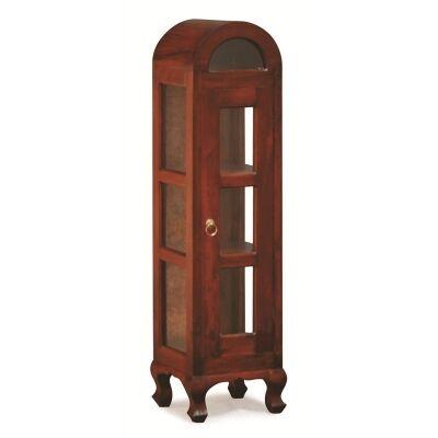 Gaidar Mahogany Timber Single Door Display Cabinet, Small, Mahogany
