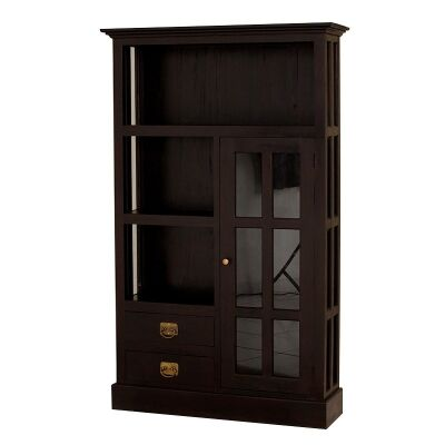 Showa Solid Mahogany Timber 1 Door 2 Drawer Display Cabinet - Chocolate