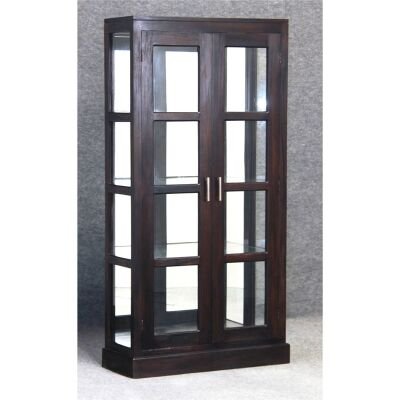 Paris Solid Mahogany Timber Mirrored Back Display Cabinet - Chocolate