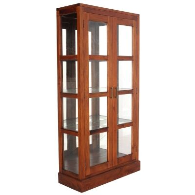 Paris Solid Mahogany Timber Mirrored Back Display Cabinet - Light Pecan