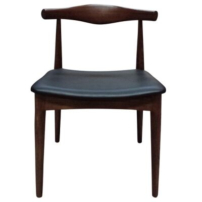 Replica Hans Wegner Elbow Chair with PU Seat, Walnut / Black