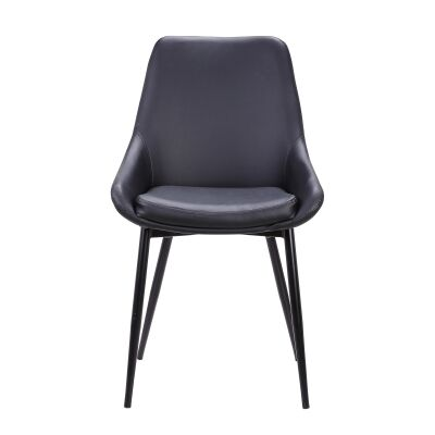 Set of 2 Arborio Faux Leather Dining Chairs, Black