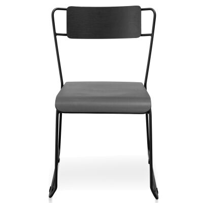 Stainley Commercial Grade Wood & Metal Dining Chair, Black