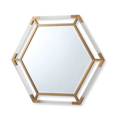 Ruoni Hexagonal Wall Mirror, 94cm, Gold