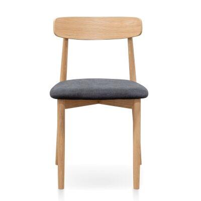 Nylars Oak Timber Dining Chair, Fabric Seat, Oak / Charcoal