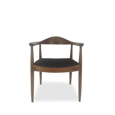 Replica Hans Wegner Round Chair with PU Seat, Walnut / Black