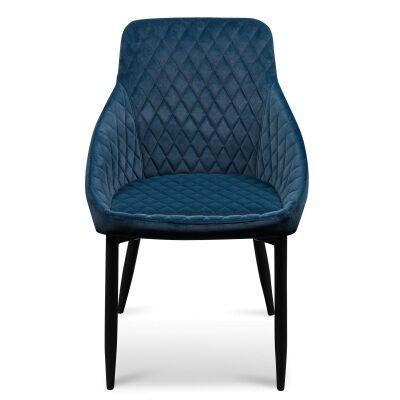 Wayerton Velvet Fabric Dining Chair, Navy