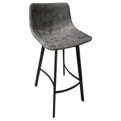 Dundas PU Leather & Steel Counter Stool, Dark Grey