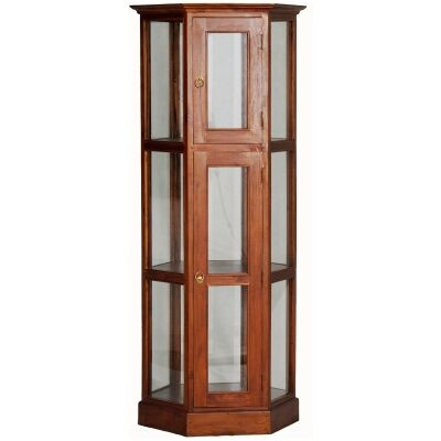 Hexagon Mahogany Timber Display Cabinet, Light Pecan