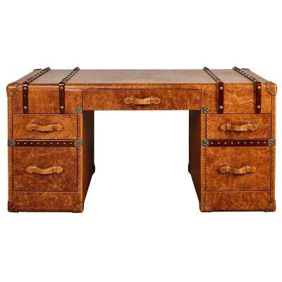 Virginia Vintage Leather Grand Desk, Hazelnut