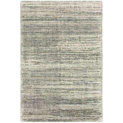 Deco Ridges Hand Knotted Wool Rug, 250x350cm, Charcoal