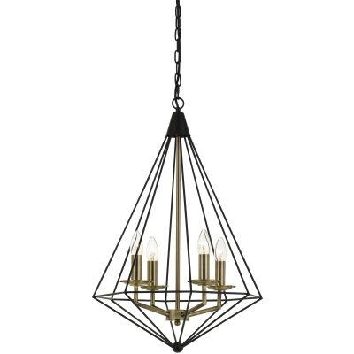 Delgany Metal Pendant Light, Medium, Black / Antique Brass