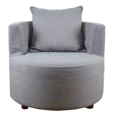 Nordic Fabric Round Armchair, Grey
