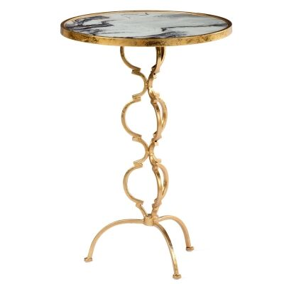 Swirl Marble Print Glass Iron Round Side Table