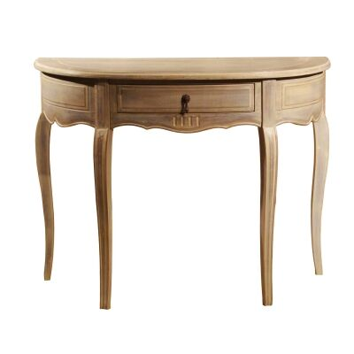 Liesel Provincial Solid Beech Timber Semi Round Console Table