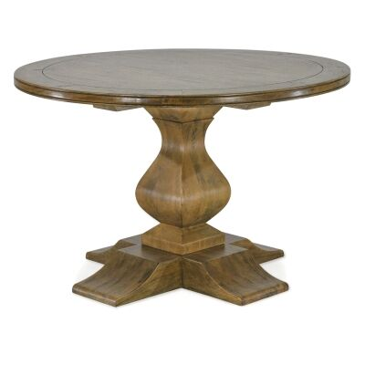 Orleans Mango Wood Round Pedestal Dining Table, 120cm