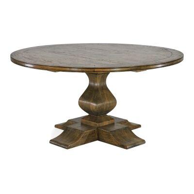 Orleans Mango Wood Round Pedestal Dining Table, 152cm