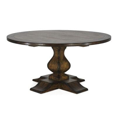 Vauroux Mango Wood Round Pedestal Dining Table, 152cm