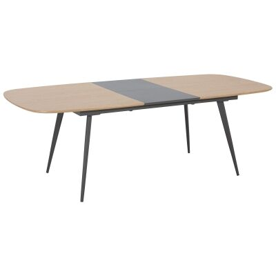 Dalary Wooden Extendable Dining Table, 180-230cm, Natural / Dark Grey