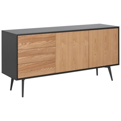 Dalary Wooden 2 Door 3 Drawer Sideboard, 160cm, Natural / Dark Grey