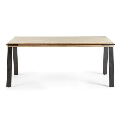 Detroit Solid Acacia Timber and Metal Dining Table, 160cm
