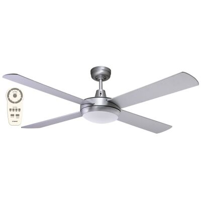 """Martec Lifestyle DC Ceiling Fan with CCT LED Light & Remote, 130cm/52"""", Brushed Nickel"""