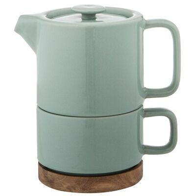 Leaf & Bean Soren Tea For One Ceramic Teapot & Cup Set, Sea Green