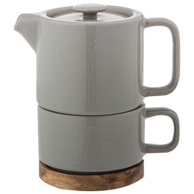 Leaf & Bean Soren Tea For One Ceramic Teapot & Cup Set, Grey