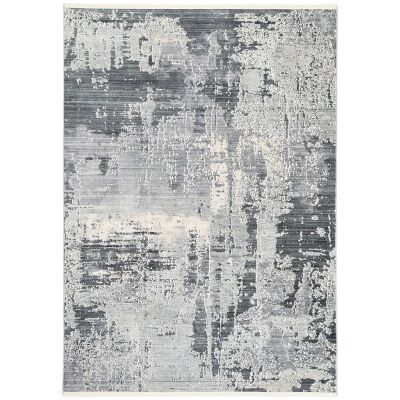 Dragos Abstract Modern Rug, 300x200cm, Cream / Blue