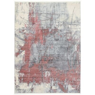 Dragos Abstract Modern Rug, 150x80cm, Cream / Red