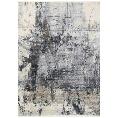 Dragos Abstract Modern Rug, 150x80cm, Cream / Grey