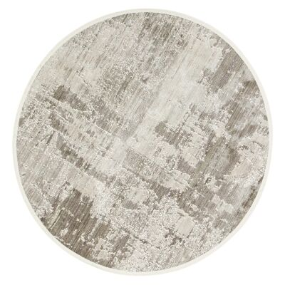 Dragos Abstract Modern Round Rug, 180cm, Cream / Beige