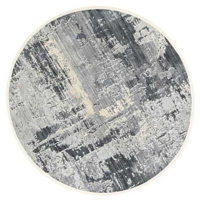 Dragos Abstract Modern Round Rug, 180cm, Cream / Blue