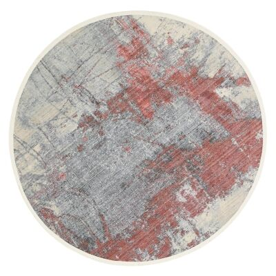 Dragos Abstract Modern Round Rug, 180cm, Cream / Red
