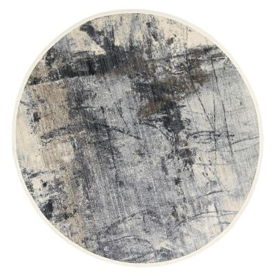Dragos Abstract Modern Round Rug, 180cm, Cream / Grey