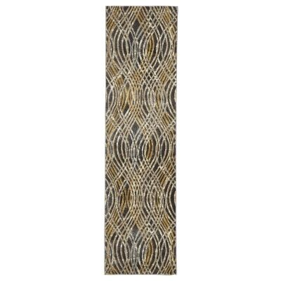 Dreamscape Flurry Turkish Made Modern Runner Rug, 400x80cm, Charcoal