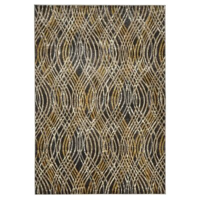 Dreamscape Flurry Turkish Made Modern Rug, 290x200cm, Charcoal