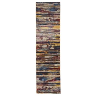 Dreamscape Strokes Turkish Made Modern Runner Rug, 400x80cm, Raspberry