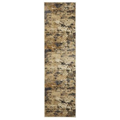 Dreamscape Tribute Turkish Made Modern Runner Rug, 400x80cm, Amber / Charcoal