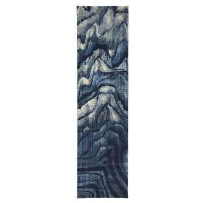 Dreamscape Waves Turkish Made Modern Runner Rug, 300x80cm, Indigo