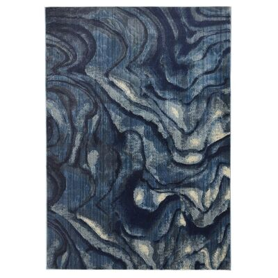 Dreamscape Waves Turkish Made Modern Rug, 290x200cm, Indigo