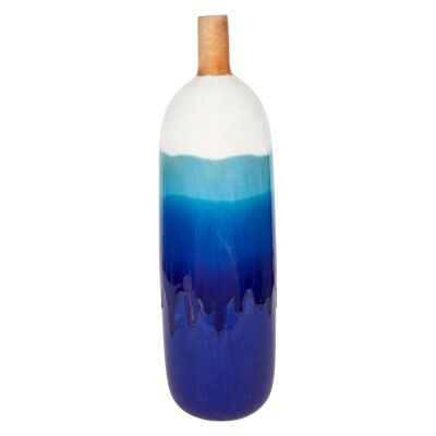 Acaya Reactive Ceramic Bottle Bud Vase, Large, Azure