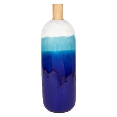 Acaya Reactive Ceramic Bottle Bud Vase, Medium, Azure