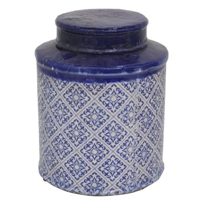 Mosaic Glazed Terracotta Canister with Lid, Large
